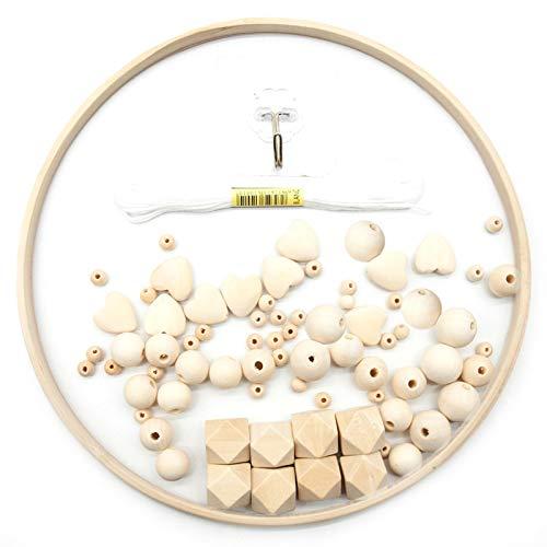 Marco móvil de madera para bricolaje, cuentas de madera natural, campanillas de viento, campanilla de madera para cuna, cascabel de viento, decoración del hogar para niños