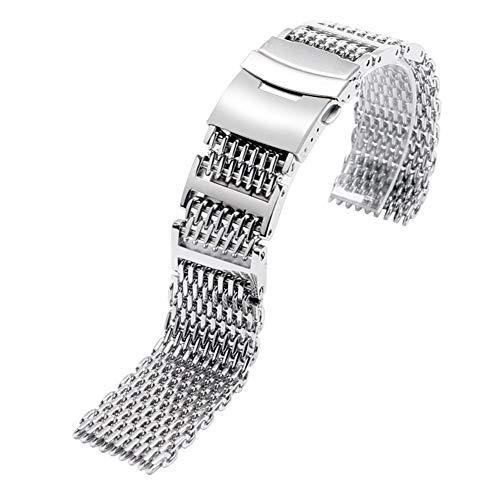 ZXF Correa Reloj, 22mm Plata Reemplazo Plegable de Malla Hombres Banda de Acero Inoxidable Correa