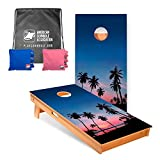 9. ACA American Cornhole Association - 2x4 Star Nature Professional Cornhole Boards - Palm Tree with Corn Filled Pink and Royal Bags