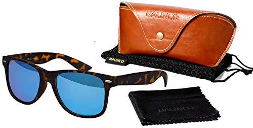 Balinco Hochwertige Polarisierte Nerd Rubber Sonnenbrille im Set (24 Modelle) Retro Vintage Unisex Brille mit Federscharnier (Leo-Blue)