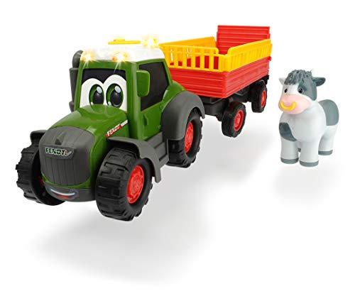Dickie Toys Happy Series - Tractor de Juguete Happy Fendt con Remolque de Animales y Figura de Vaca, para Niños a partir de 1 Año - 30 cm
