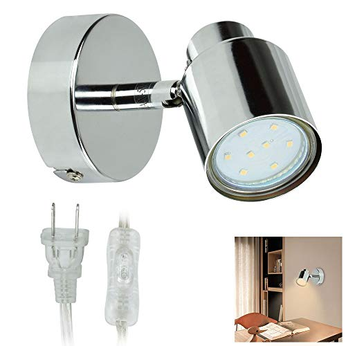 W-LITE Indoor LED Wall Spotlight Adjustable Spot Light-3W Multi-Purpose Wall Lamp Classical Surface Mounted Downlight GU10 Bulb with US Plug for Bedside Headboard Picture, Polished Chrome, Warm White