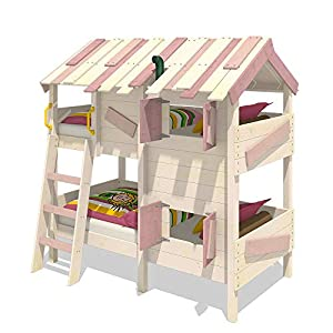 WICKEY Bunk Bed Crazy Creek Children`s loft Bed with roof and slatted Bed Base
