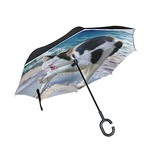 Find Discount PNGLLD Funny Cat Painting Art Inverted Umbrella Double Layer Reverse Folding Umbrella ...
