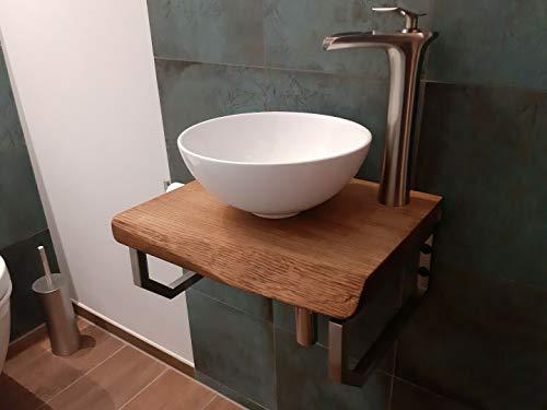 Waschtischplatte Eiche massiv Baumkante geölt Holz Aufsatzwaschtisch (60 x 35 cm)