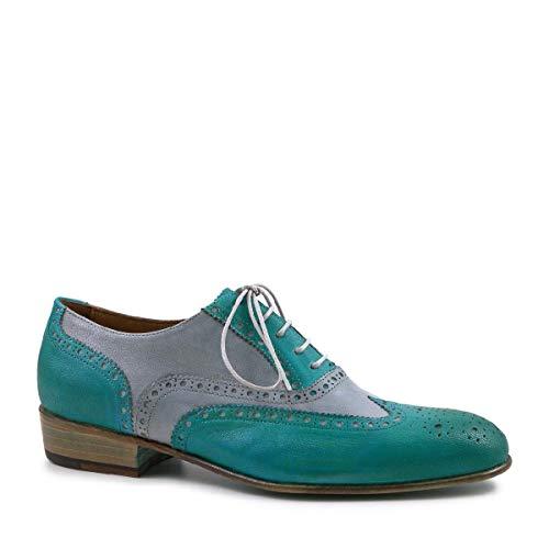 Leonardo Shoes Women's Silver Kid Leather Lace-ups Shoes - Size: 5.5 US