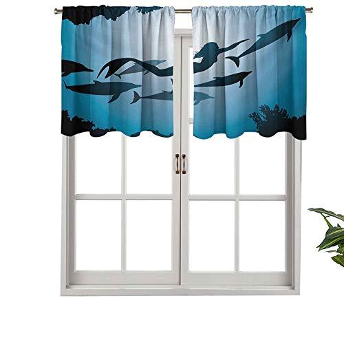 Hiiiman Cortinas pequeñas para ventana de cocina, cenefas de la sirena, con vistas subacuáticas, aleta de buceo, para viajes, 1 unidad, 106,7 x 45,7 cm para cocina, baño y cafetería.