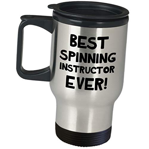 Gifts for Spinning Instructor Travel Mug - Best Spinning Instructor Ever - Indoor Cycling Trainer Insulated Coffee Tumbler Funny Cute Gag Appreciation Gift Idea Spin Bike Training Mentor Coach