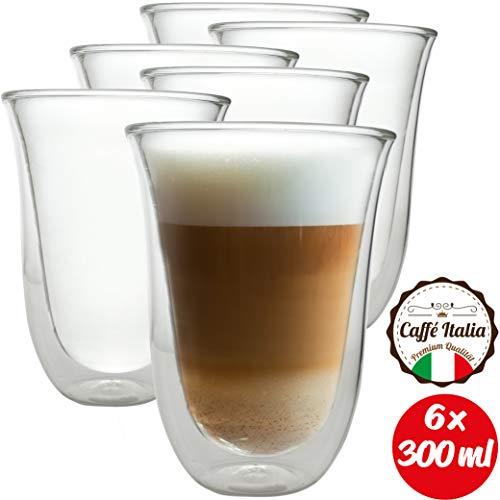 Caffé Italia Napoli 6 x 300 ml Doppelwand-Thermo-Gläser - für Latte Macchiato Tee Heiß- und Kaltgetränke - spülmaschinengeeignet