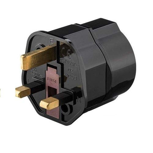CABLEPELADO Adaptador de Enchufe de Europeo a Enchufe UK Negro