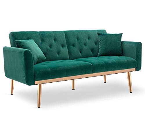 Aiscool Velvet Sofa Modern Convertible Futon Sofa Bed Recliner Couch Accent Sofa Loveseat Sofa with Rose Gold Metal Feet (1 Blackish Green)