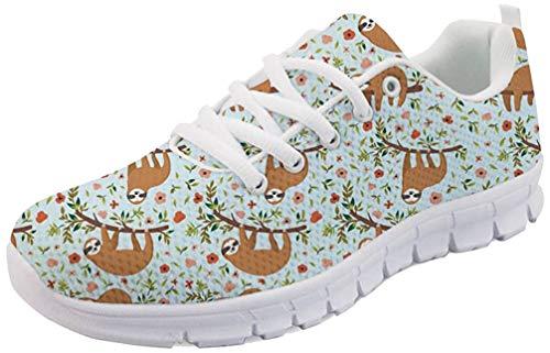 Nopersonality Damen Fitness Laufschuhe Sportschuhe Schnüren Running Sneaker Netz Gym Schuhe - Floral Sloth Print, 42 EU