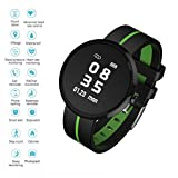 EJOLG IP67 Waterproof Fitness Trackers Smart Watch,with Heart Monitor and Blood Pressure Step Counter Pedometer,etc,Support Multiple national languages Mens Womens Unisex,Green
