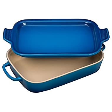 Le Creuset Stoneware Rectangular Dish with Platter Lid, 14 3/4  x 9  x 2 1/2 , Marseille