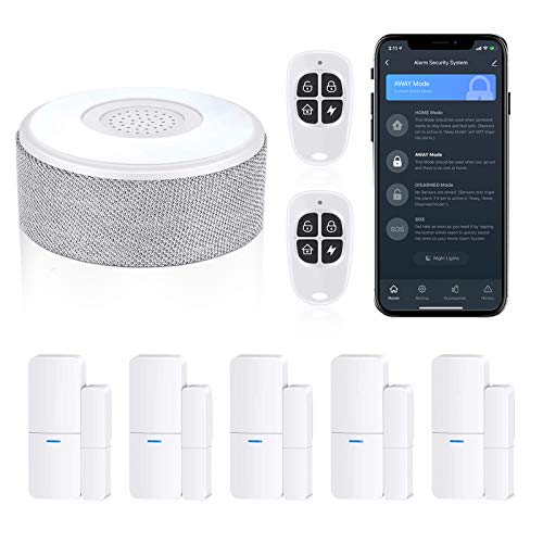 WiFi Door Alarm System, Wireless DIY Smart Home Security System, with Phone APP Alert, 8 Pieces-Kit (Alarm Siren, Door Window Sensor, Remote), Work with Alexa, for House, Apartment, by tolviviov