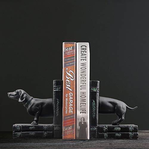 Lrxq American Style Minimalistisch zwart kleine hond modellering boekensteun desktop ornament werkkamer handwerk