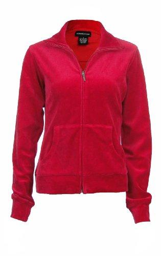 Sutton Studio Women's Velour Track Jacket Misses (Small, Rouge)