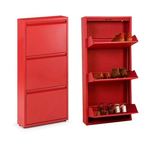 D'CASA Zapatero de Metal Rojo con 3 cajones, 51x16x106cm