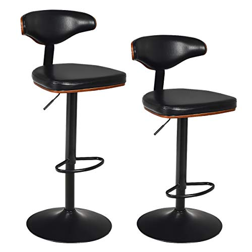 COSTWAY Bar Stool, Walnut Bentwood Upholstered Swivel Barstool, with Footrest, Height-Adjustable, PU Leather Cushion Counter Barstools for Kitchen, Bistro and Pub (Set of 2)