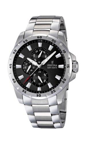 Festina Herren Analog Quarz Uhr mit Edelstahl Armband F16662/3