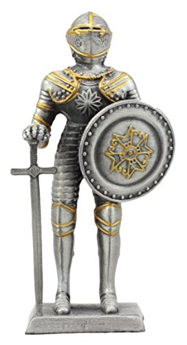 Ebros Gift Pewter French Knight Figurine 4' H Medieval Suit of Armor Long Sword & Shield Dollhouse Miniature Collectible