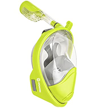 Seaview 180° GoPro Compatible Snorkel Mask- Panoramic Full Face Design. See More With Larger Viewing Area Than Traditional Masks. Prevents Gag Reflex with Tubeless Design (Electric, L/XL)