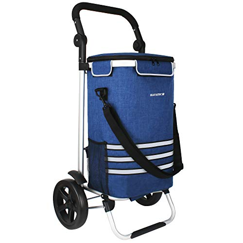 Alaskaprint Einkaufstrolley 35L, Einkaufsroller klappbarer Einkaufswagen abnehmbare Tasche Handwagen mit Rollen stabil multifunktional 2in1 I Faltbar Shopping Trolley Roller Einkaufshilfe Blau