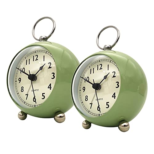 Baoblaze 2X Reloj Despertador de de Cuarzo Silencioso Junto a La Cama con Luz Nocturna Verde Salvia