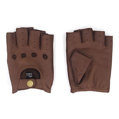 Harssidanzar Homme Gants de conduite en cuir sans doigts, peau de daim, demi-doigt sans doublure GM005A,Selle,Taille L