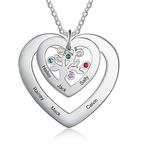 Collar de árbol de la vida personalizado para mujer colgante de corazón de 3 4 6 nombres con piedras de nacimiento regalo para madre esposa abuela mejores amigos cumpleaños aniversario (#6)