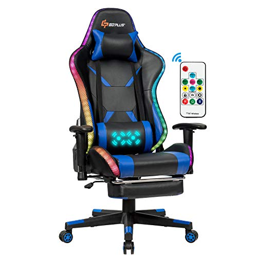 POWERSTONE RGB Gaming Chair, Ergonomic High Back E-Sports Gaming Chair with Footrest Massage Lumbar Adjustable Armrest Height Swivel Racing Chair PU Leather Computer Chairs (Blue)