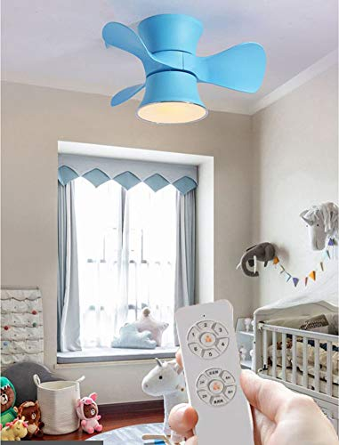 Super Leise Ventilator mit Licht, Timer and Umkehrsfunktion Ventilator Deckenlampe, Beleuchtung mit LED 15W, Dimmbar Fernbedienung Fan Kronleuchter, 6-Gang, 3 Flügel 60 x 28 CM,Blau