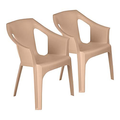 Resol Cool Garden Armchairs - Stackable UV Resistant Outdoor Patio Armchair - Sand - Pack of 2