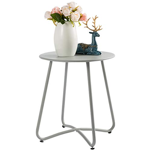 HollyHOME Small Round Patio Metal Side Snack Table, Accent Anti-Rust Steel Coffee Table for Garden, Modern Weatherproof Outdoor End Table, (H) 17.55' x(D) 15.60', Grey