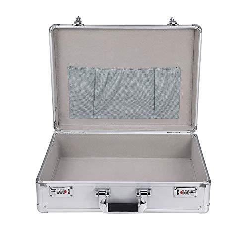 XBSXP Aluminium Hard Tool Box Case Tragbare Tragetasche Aktentasche Flightcases Leere Box mit Code-Schloss, Silber/Schwarz