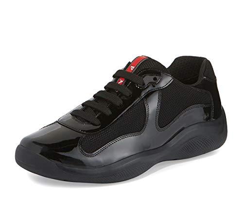 Prada Men's Linea Rossa America's Cup Patent Leather Sneaker, Black (10.5 US / 9.5 UK)