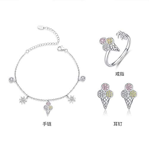WODESHENGRI Dames Sieraden Sets, 925 Sterling Zilver Leuke Ijs Armband Oorbellen Sieraden Geschenken Glanzende Unieke Ringen Oorbel Armband Mode Sieraden Set Feestkleding Accessoires