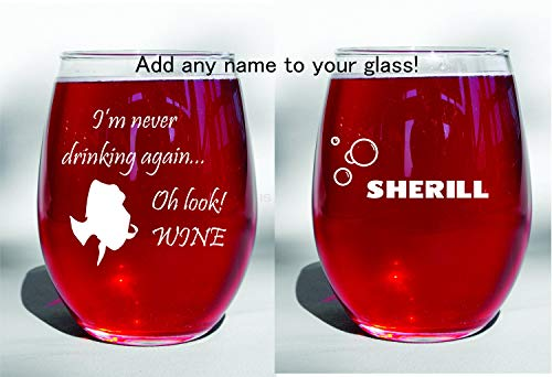 Copa de vino con grabado profundo de Buscando a Dory Nemo Im Never Drinking Again Oh Look, hecha a medida, sin tallo o elección de copa