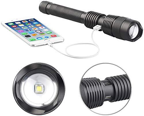 KryoLights USB Taschenlampe: 2in1-LED-Taschenlampe und Powerbank, 3.600 mAh, 1.000 Lumen, 10 Watt (LED Akku Taschenlampen)