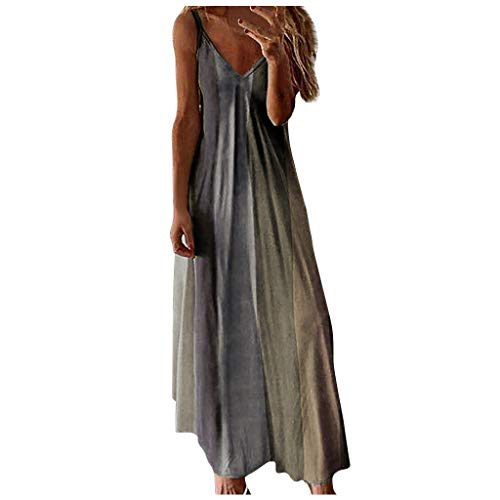 Affordable Toimothcn Women's Camis Long Dress Spaghetti Straps Striped Printed Loose Casual Maxi Dre...