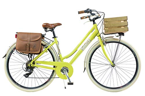 Via Veneto by Canellini Damen Citybike CTB Vintage Stil Rad Cityrad Fahrrader Bike Aluminium mit Korb Kassette (Gelb, 46)