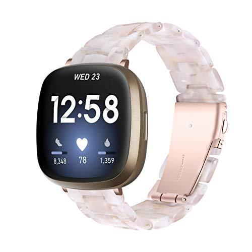 BFISOD Versa 3 Uhrenarmbänder, Resin Ersatz Armbänder Faltsichte Armband Damen Herren Verstellbares Zubehörband WatchBand für Fitbt Versa 3 / Versa Sense Smart Watch (A11)