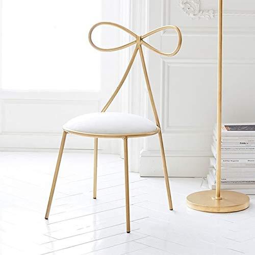 GoYisi WKJ-67 Fashion Nordic Bar Tabouret de Loisirs Siège de Salle à Manger Moderne avec Dossier en Forme de nœud Chaise (siège Blanc, Hauteur 75cm) (Couleur : White Seat High 45cm)