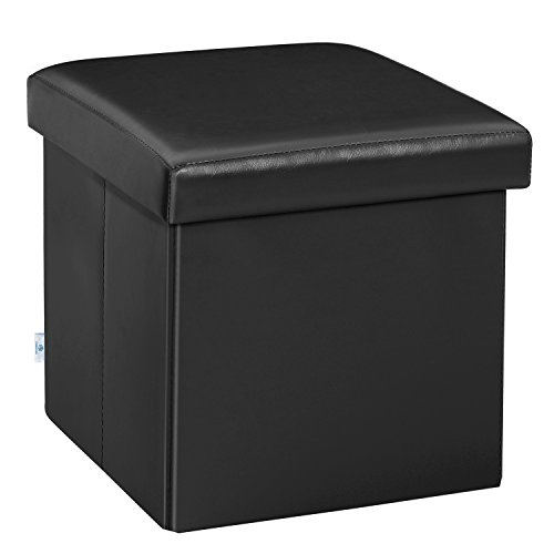 B FSOBEIIALEO Folding Storage Ottoman Cube with Faux Leather Toy Chest Footrest for Baby Black 11.8'x11.8'x11.8'