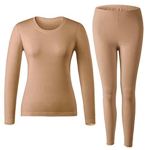 MOLLDAN Women's Long Johns Baselayer Thermal Underwear Tops & Bottom Set with Fleece Lined(XXL,Nude)