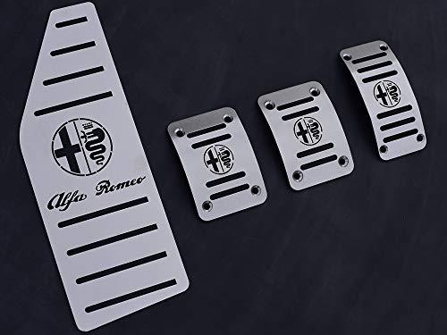 Pedali Con Poggiapiede In Acciaio per Alfa_Romeo GIULIETTA - 4 Pezzi Ti Design Pedana Pedaliera Poggapiedi Pedaliere Sportiva Gas Copripedale Freno Frizione Tuning
