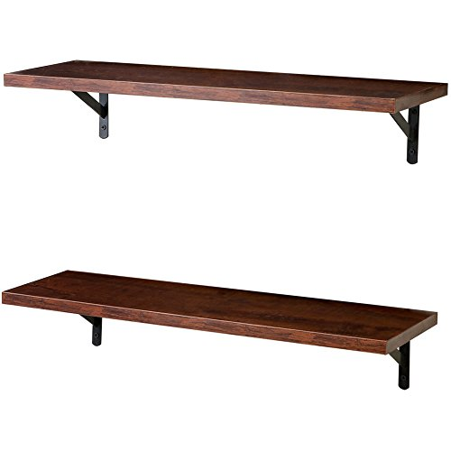 SUPERJARE Wall Mounted Floating Shelves, Set of 2, Display Ledge, Storage Rack for Room/Kitchen/Office - Walnut Brown