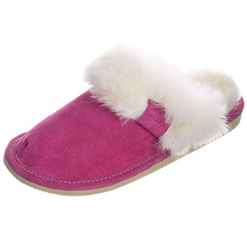 Hollert Damen Lammfell Hausschuhe Malibu Puschen Fellschuhe aus echten Merino Lammfell kuschelig warm versch. Farben Schuhgröße EUR 40, Farbe Pink