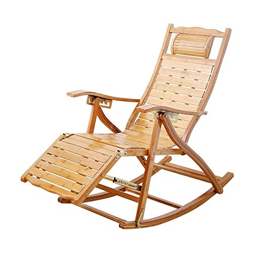 HIZLJJ Silla Mecedora de Madera portátil Plegable de bambú reclinable Regulable Silla Trasera balcón Viejo Siesta sillón jardín tumbonas, Soporte 380lbs