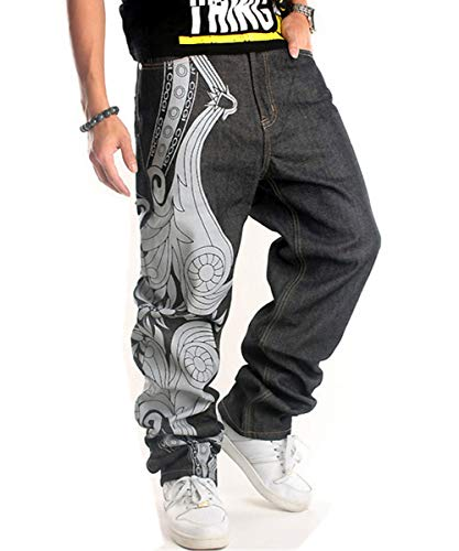 QBO Men's Hip Hop Embroidery Baggy Jeans Denim Loose Trousers-US 36/tag 38